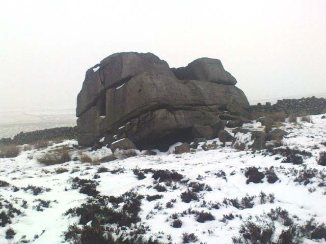 Hitching Stone through fog and snow