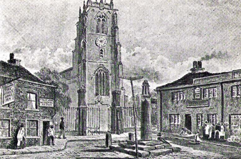 Keighley's Town Cross, 1847 - illustrated on a painting by Edwin Riby