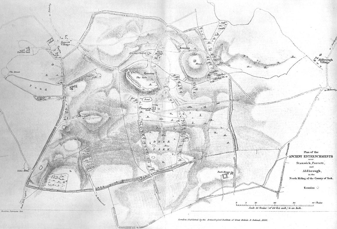 1850 map of village & earthworks