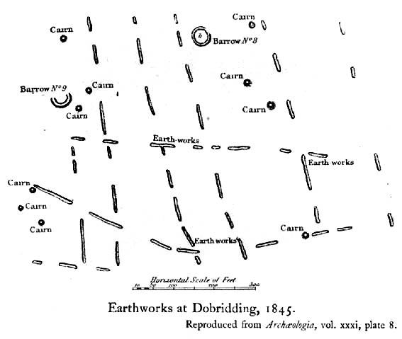 1845 plan of Cairns & Earthworks on Baildon Moor (after J.N.M. Colls)