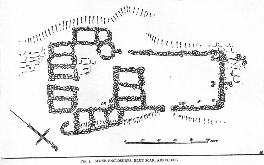 Drawing of main part of the settlement (Raistrick 1929)