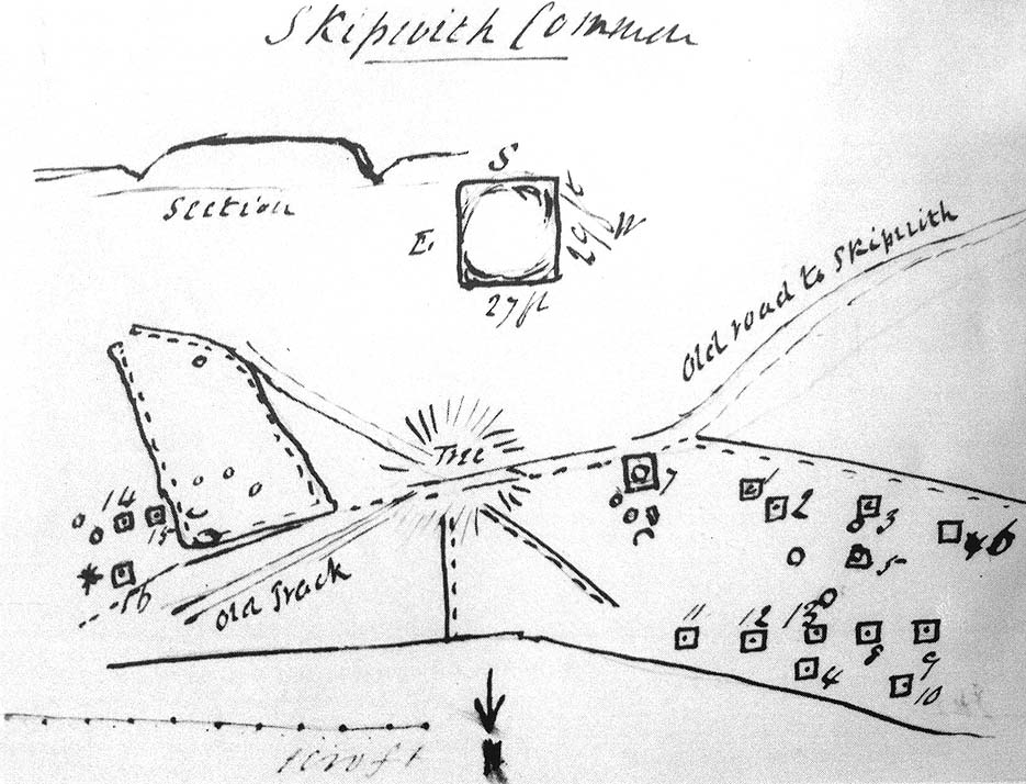 Sketch map of the Danes Hill tombs, 1849