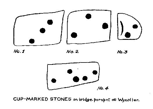 Wycoller Bridge's cup-marked stones (after Jackson, 1962)