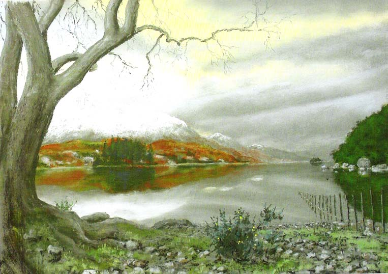 Loch Maree, looking south. Painting © Bryan Islip