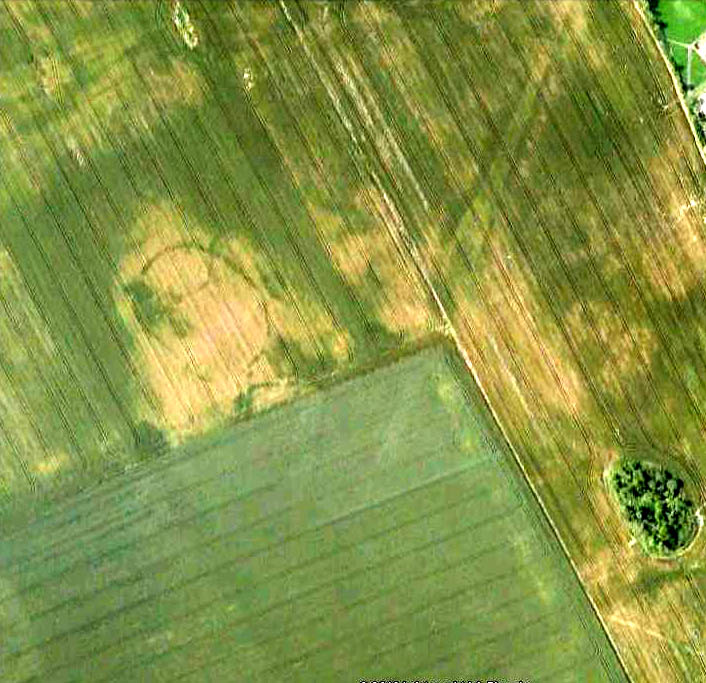 Aerial view of Hasting Hill cursus & enclosure remains