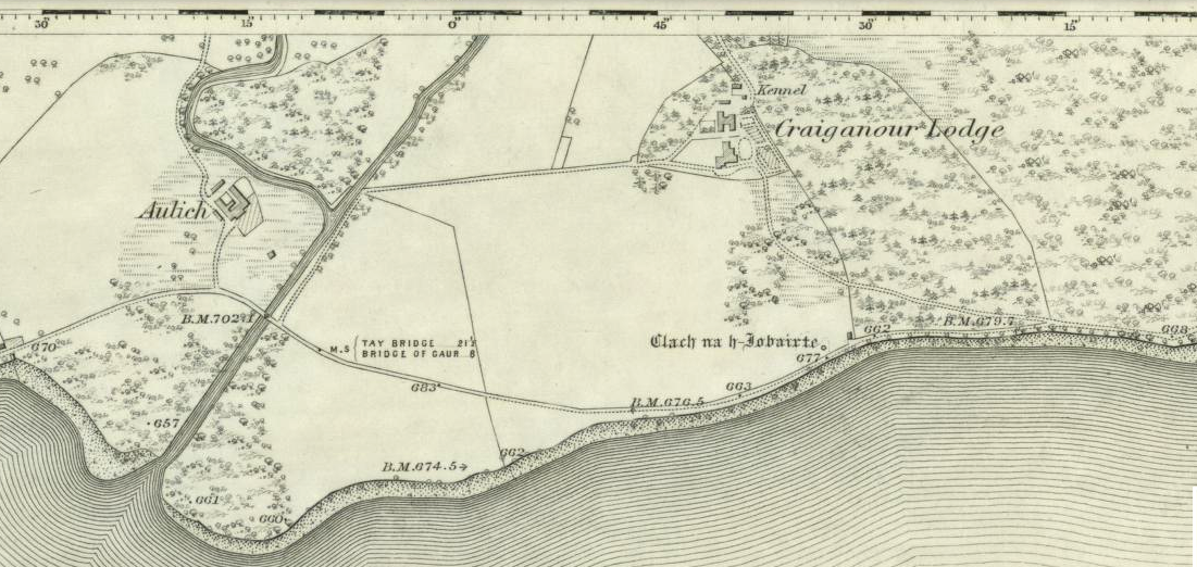 Standing stone shown on the 1867 OS-map