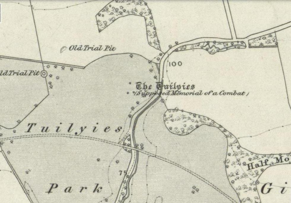 The Tuilyies standing stones on 1854 OS-map
