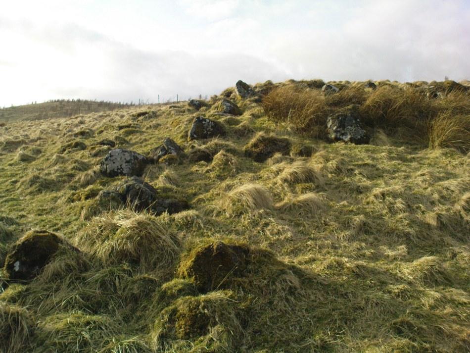 Line of walling to hut circle on ridge