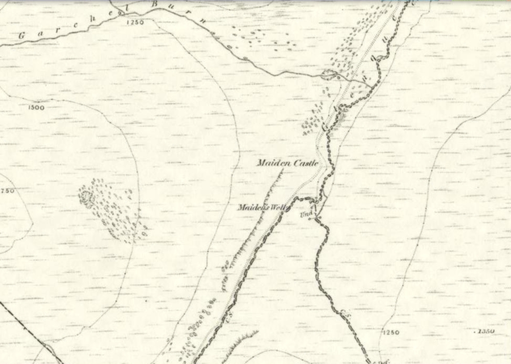 1860 map showing Maiden Castle (and the Maiden's Well)
