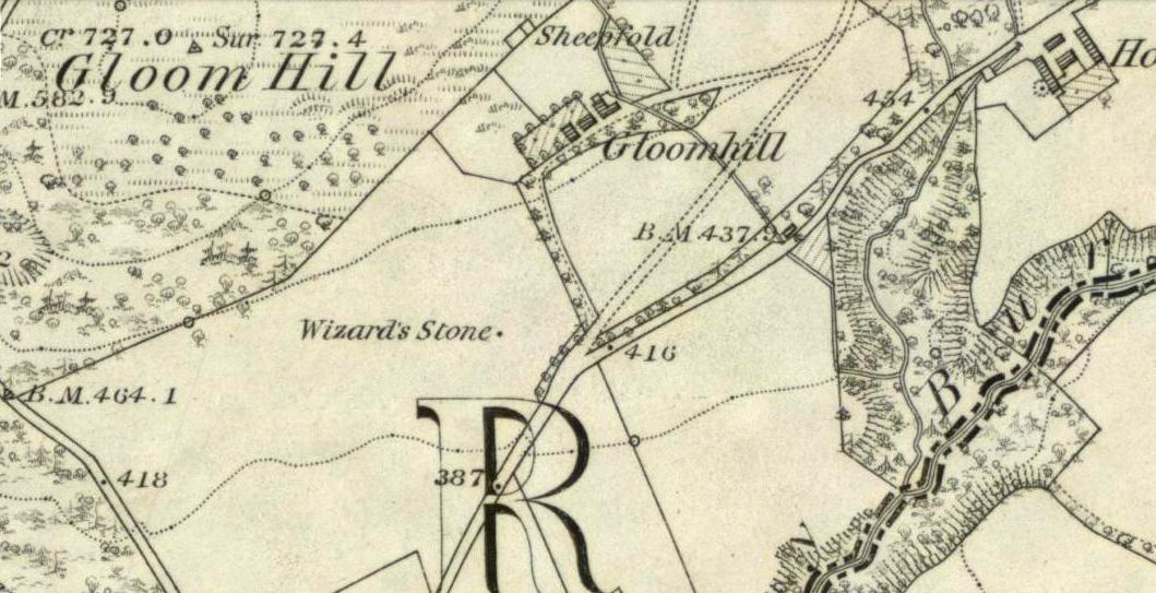 Wizard's Stone on the 1866 OS map