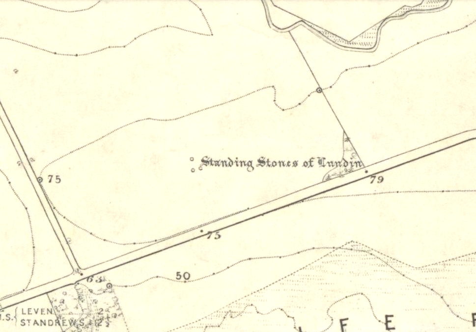 Lundin stones on 1855 OS-map