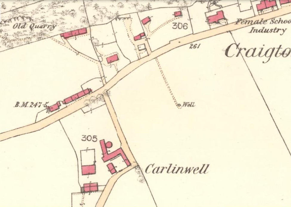 Carlin Well on the 1865 OS-map