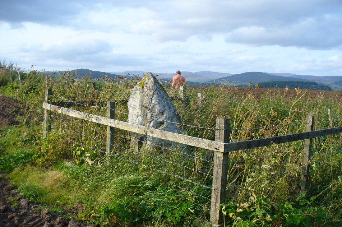 Caddam stone, looking north