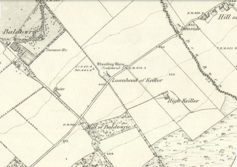 Keillor stone on 1865 map