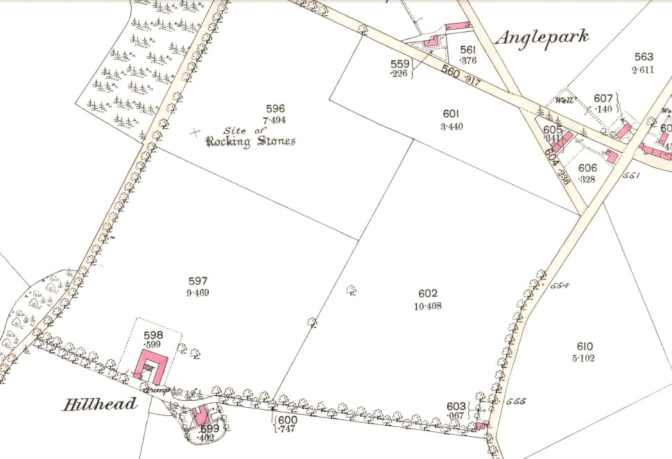 Rocking stones shown on 1865 25-inch OS-map