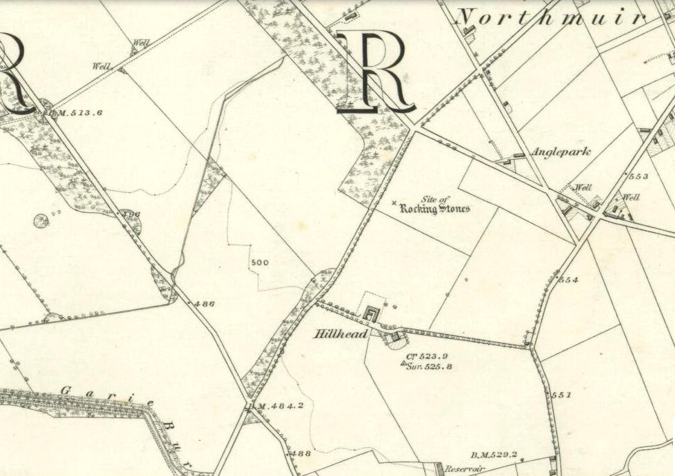 Rocking stones shown on 1865 6-inch OS-map