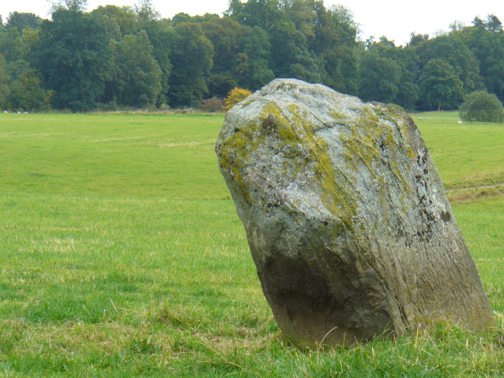 Alignment to Monzie stone circle, just visible in field