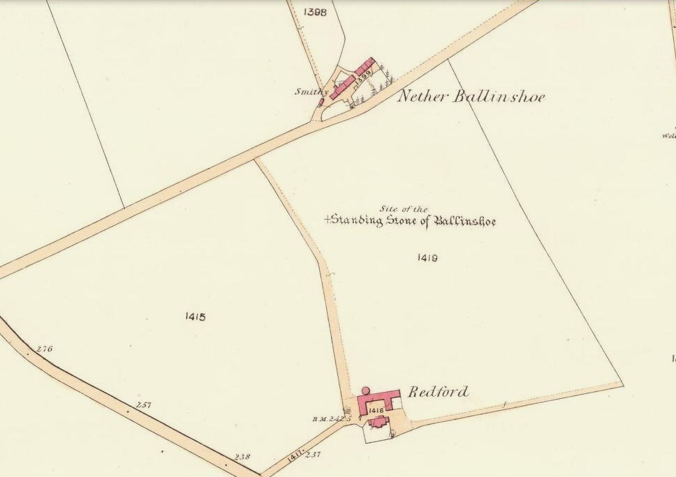 Site of the standing stone on 1865 OS-map