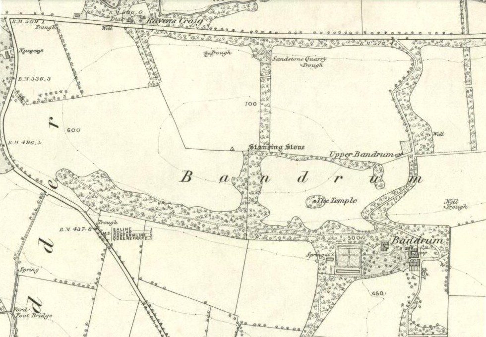 Bandrum Stone on 1854 map