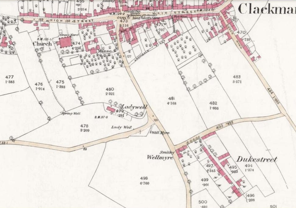1866 OS-map showing Lady Well