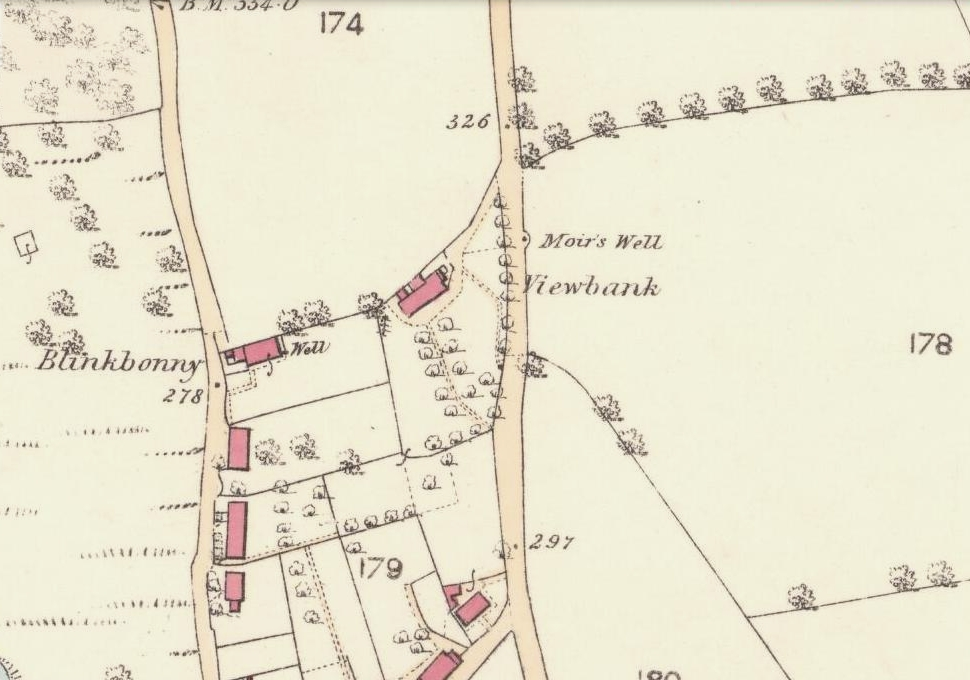 Moirs Well on 1866 OS-map