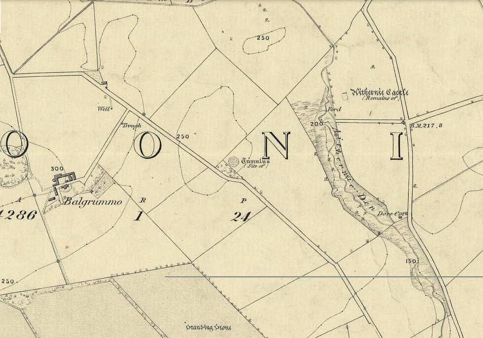 Aithernie tumulus on 1855 OS-map