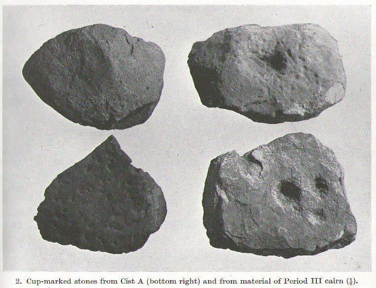 Cup-marked stones from Cist A, Cairnpapple