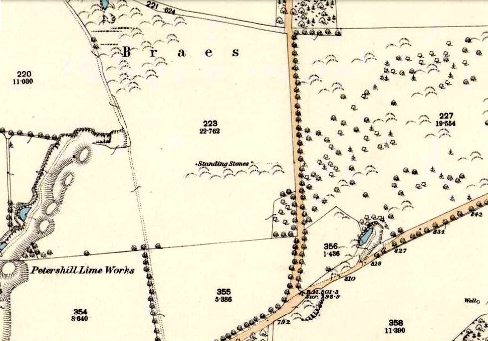 Gala Braes on 1854 OS-map
