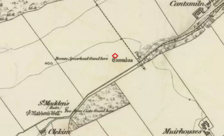 "The site highlighted in red on the 1865 6"" OS Map."