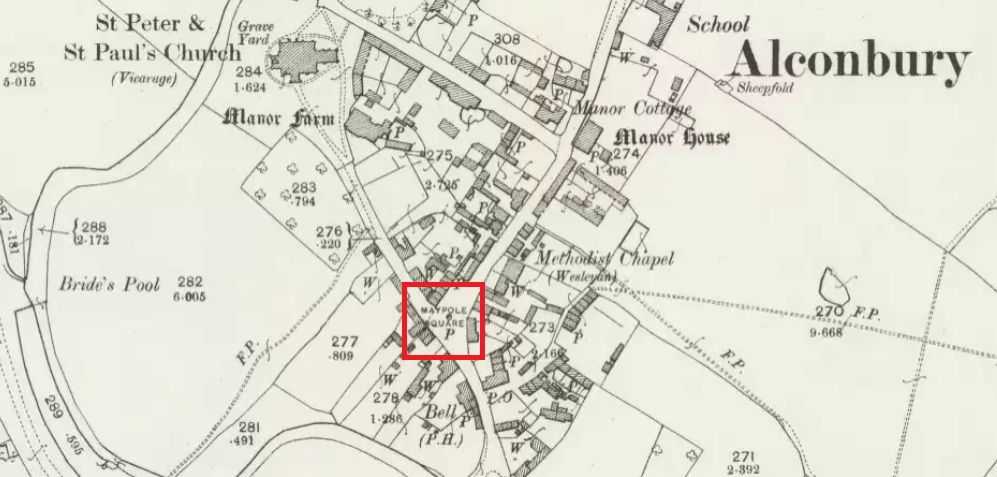 Maypole Square, outlined in red on the 1901 OS map