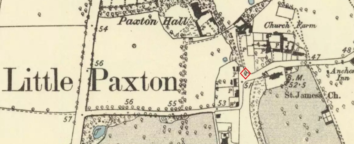 "The 1887 6"" OS Map, showing the Maypole Tree outlined in red"