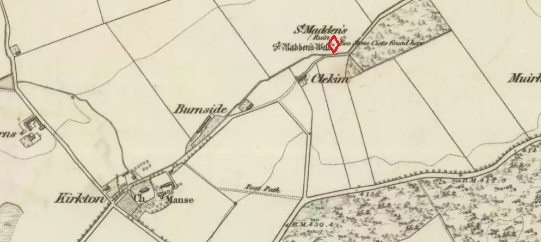 "St. Madden's Well highlighted in red on the 1865 6"" OS Map."
