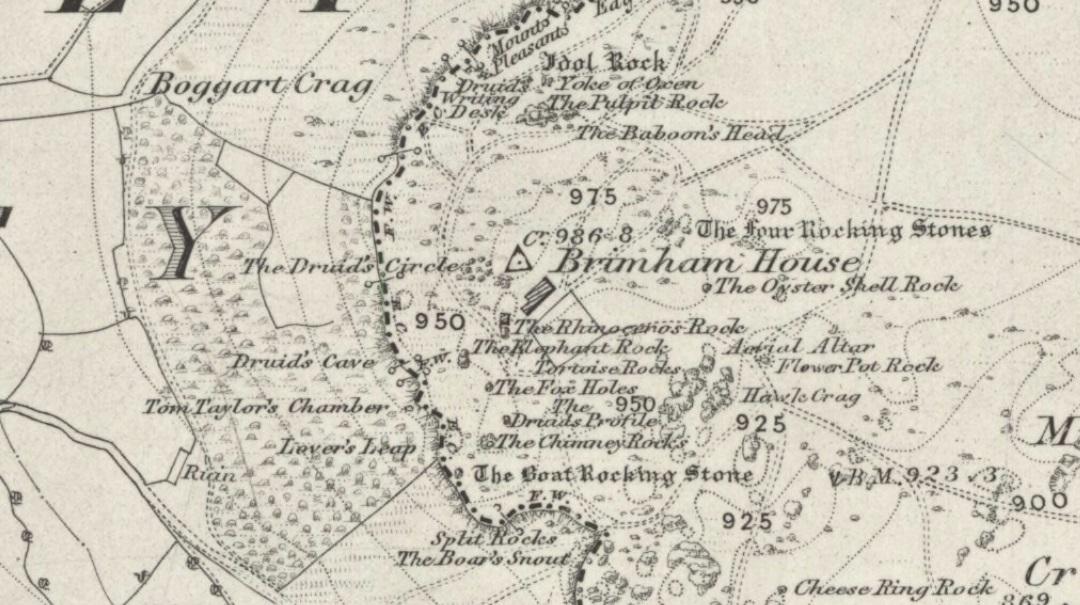 Druid's Circle on 1854 map