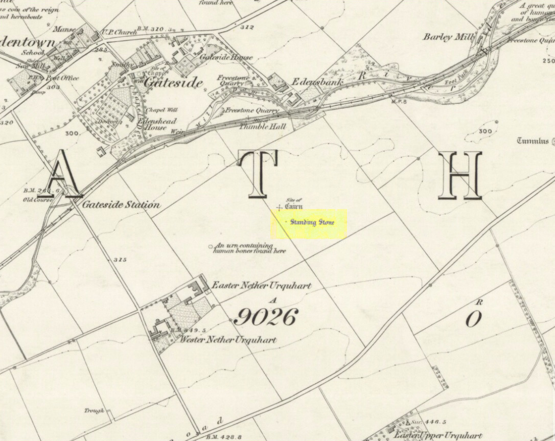 Remaining standing stone of Easter Nether Urqhart stone circle on 1856 map