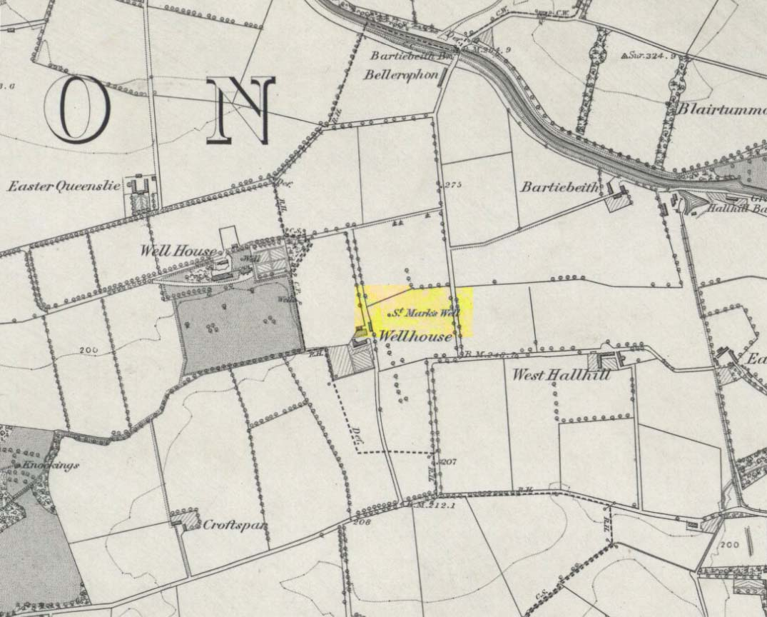 St Marks Well on 1864 map