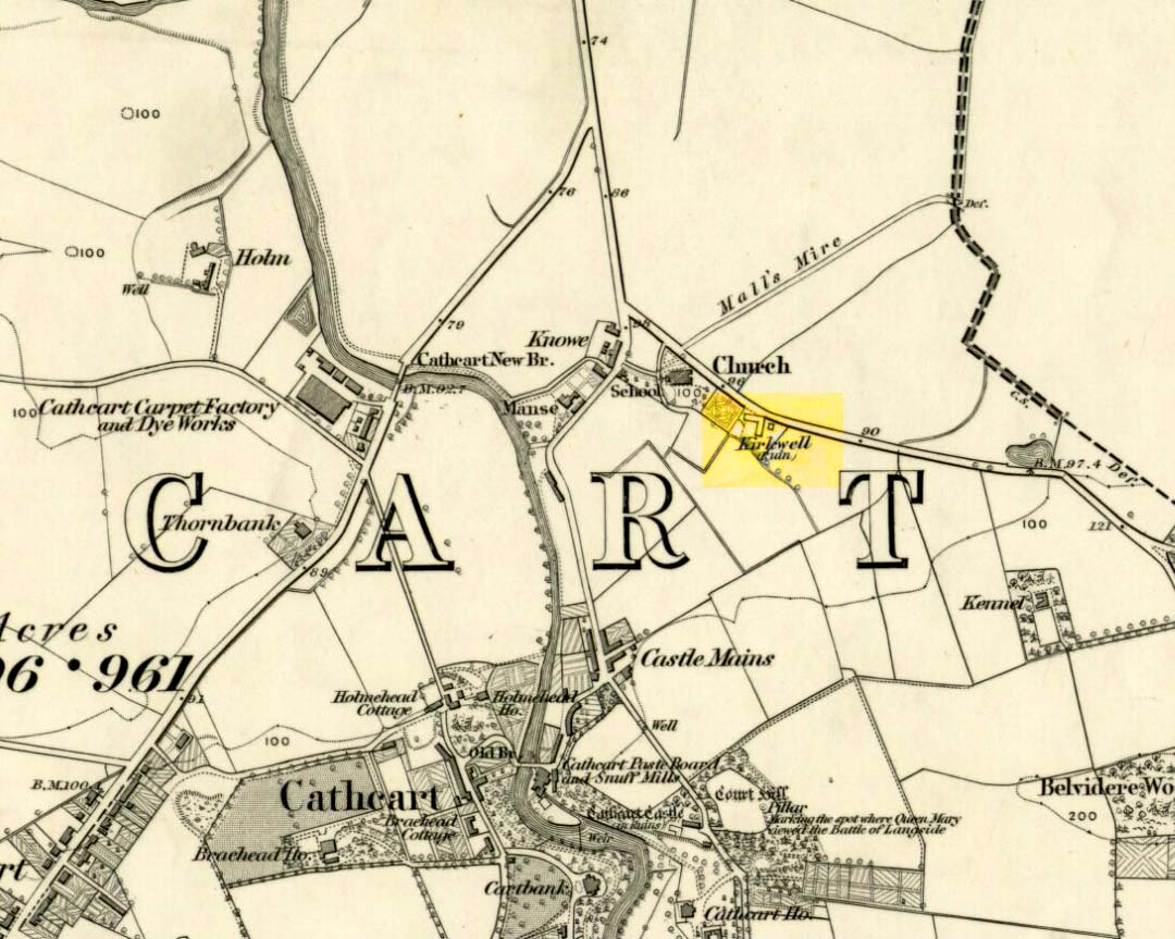 St Oswald, or the Kirk Well, on 1863 OS-map