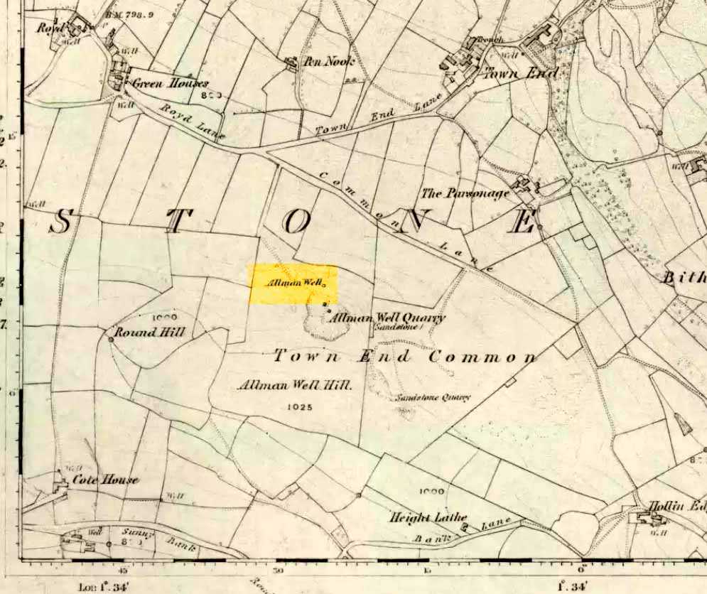 Allman or Dragon Well, 1855 map