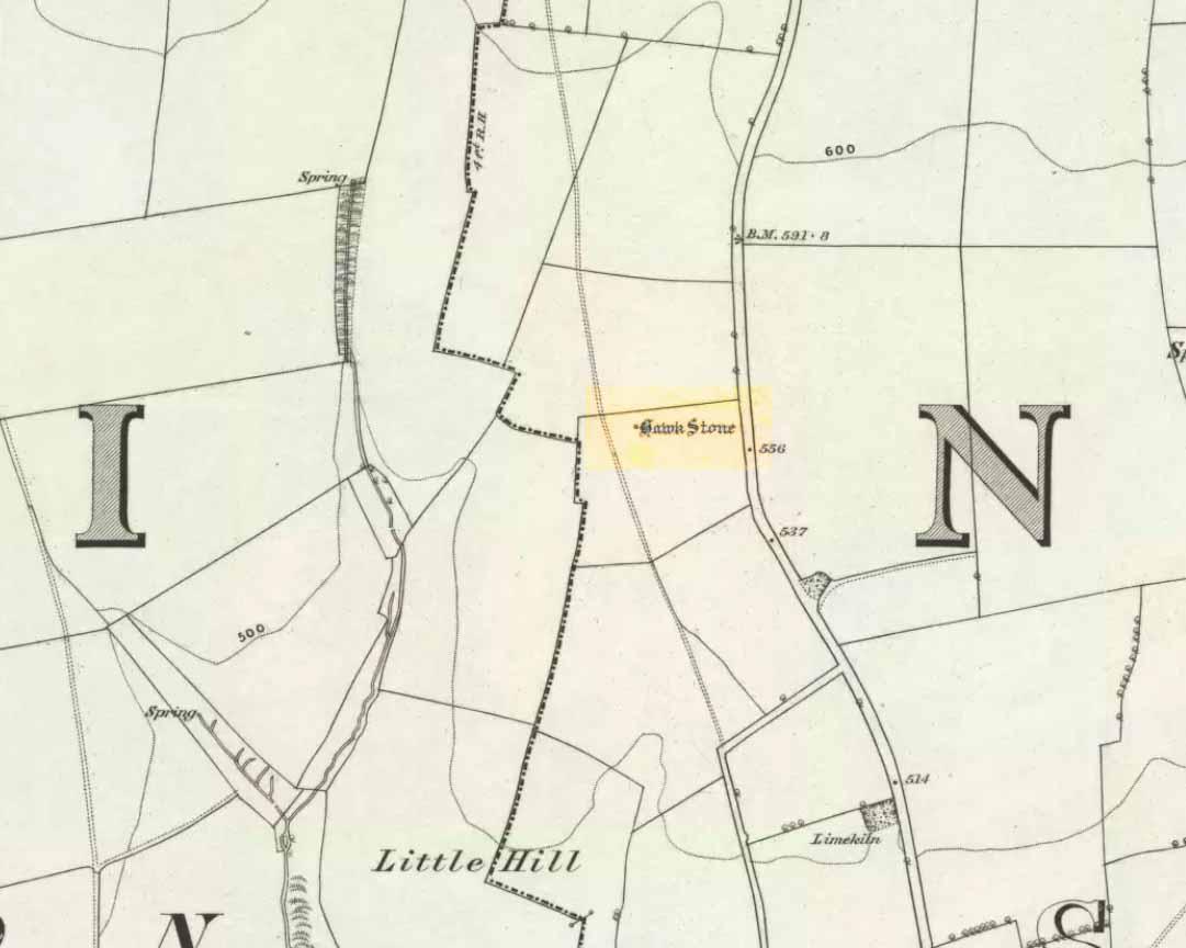 Hawk Stone on 1885 map