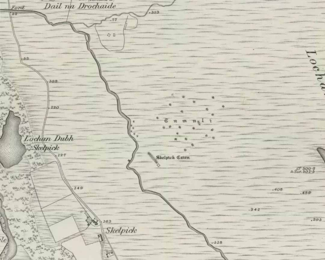 Mass of cairns on 1878 map