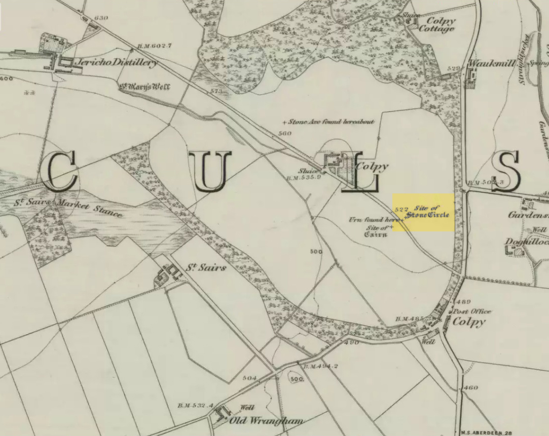 Colpy Circle site on 1868 map